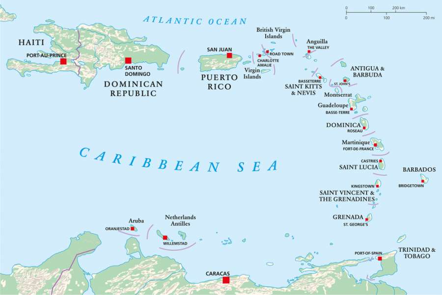 Caribbean Map - Dominica vs Dominican Republic