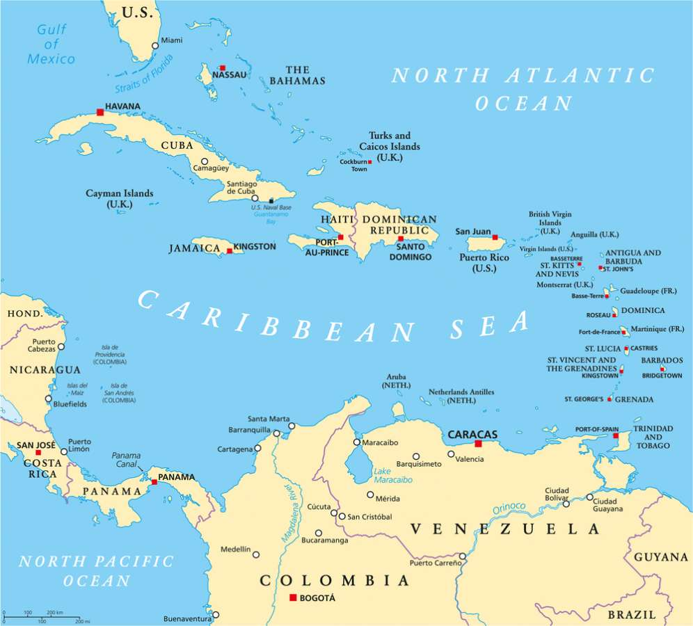 Caribbean Map of Offshore Tax Havens